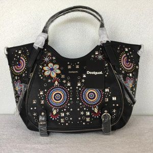 Desigual Woman Hand Bag  With colorful embroider.